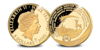Une nouvelle édition 2020 de la pièce de Noel en or massif de 24 carats | Votre pièce d' 1/10 Once en or véritable du père Noël