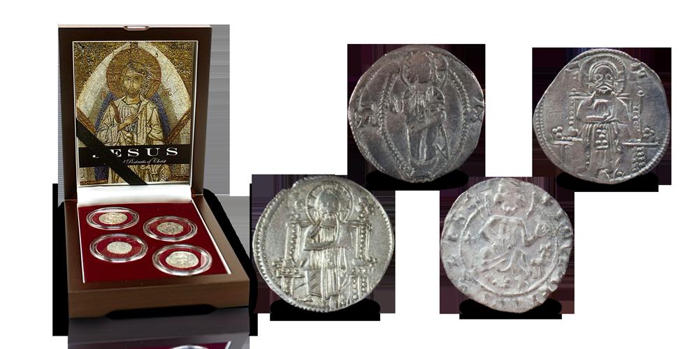 Ensemble de 4 pièces byzantines d'argent avec portrait de Jésus