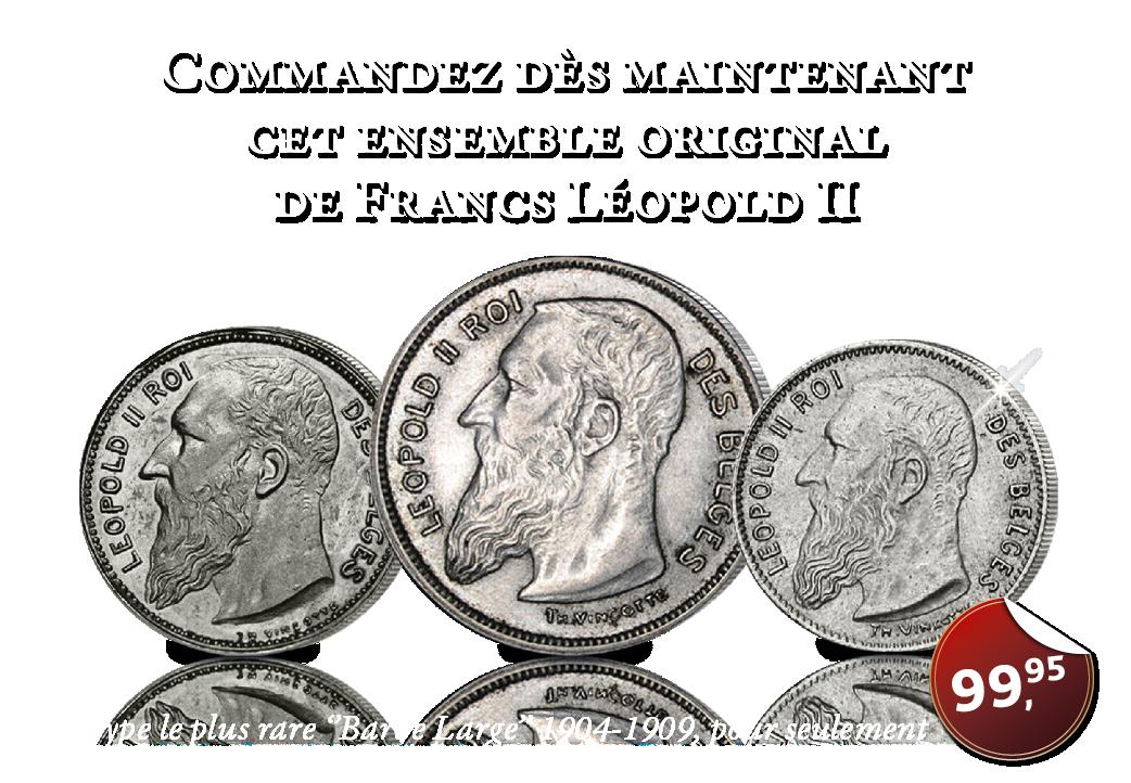 Les trois pièces en argent avec le dernier portrait du roi Léopold II de 1904-1909.
