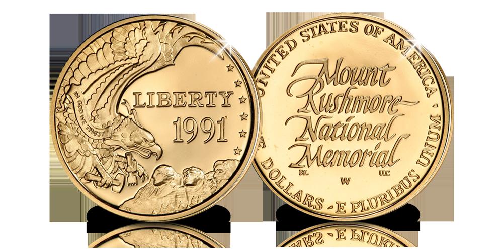 Pièce d'Or Officielle de 5$ Mount Rushmore de qualité Belle Epreuve