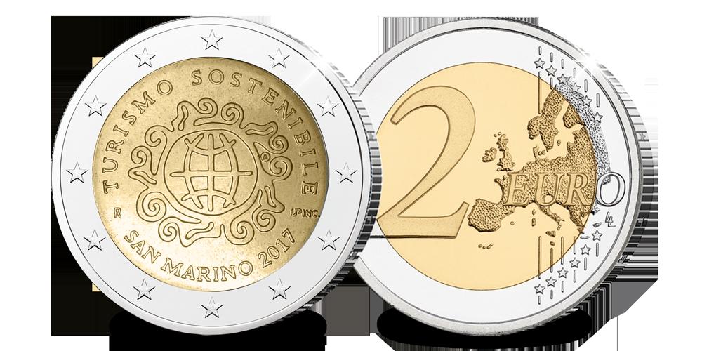 La pièce de 2 € de Saint Marin en l'honneur du Tourisme Durable 2017