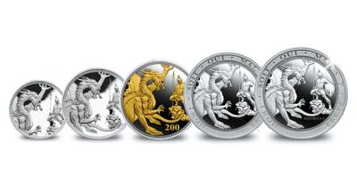 Souverains en argent avec plaqué or Fairmined | Ensemble de 5 Souverains en argent