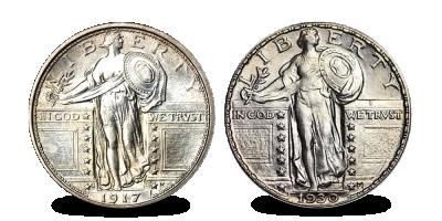 Coffret unique, 2 dollars en argent historiques | Votre ensemble 'Standing Liberty' en argent massi