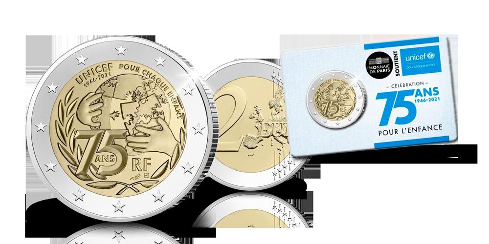 Pièce commémorative Unicef de 2 euros en qualité BU Vue d'ensemble
