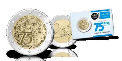 EXCLUSIF | Pièce commémorative 2 € UNICEF | Votre pièce commemorative Unicef 2 EURO en qualite Brillant Universel Designer Edition