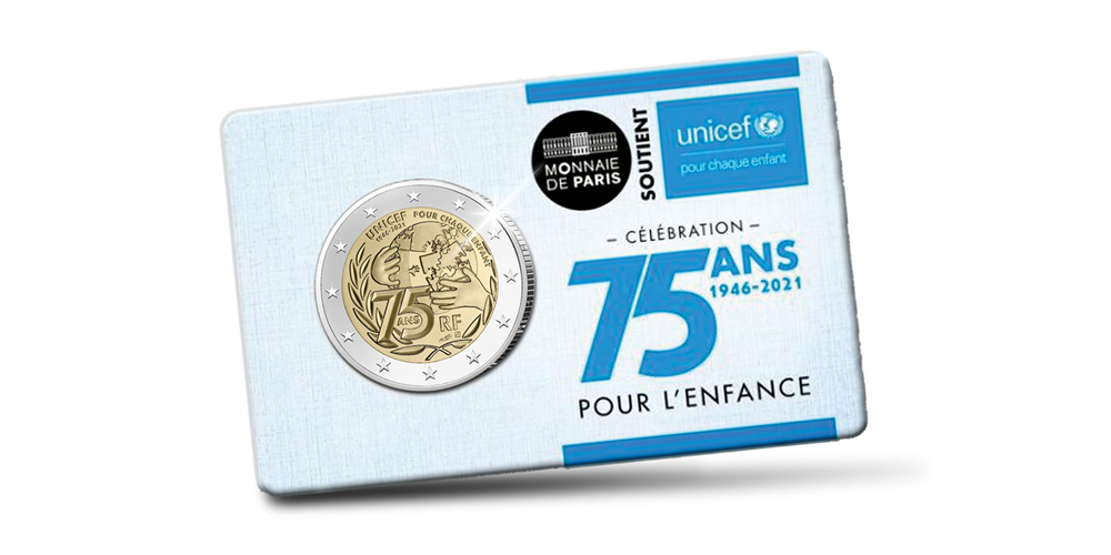 Pièce commémorative Unicef de 2 euros en avers de qualité BU