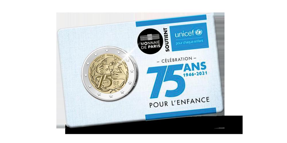 Pièce de 2 euros commémorative unicef en avers de qualité BE